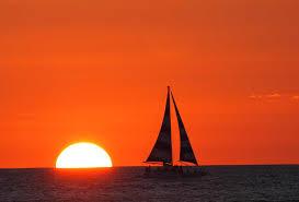 Sunset Orange by Sunsets Trip Setting Silhouette Boat Orange Sun Sailing Red