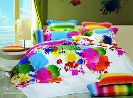 Egyptian Cotton Duvet Cover King Size Discount Multicolor Inkjet Full Queen Bedding Set Bedclothes