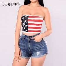 Flag Crop Top New Women Strapless Bustier Crop Top American Flag Print