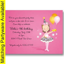 ballerina party supplies ballerina birthday invitations baby cachet