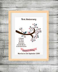 wedding anniversary plaques wedding anniversary personalised print with birds and branch