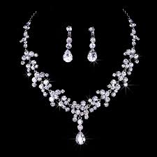 bridal wedding necklace set images Bridal bridesmaid wedding jewelry set rhinestone tiara jpg