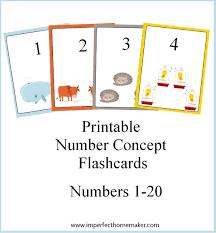 free printable number flashcards 1 20 printable number concept flashcards printable numbers teaching