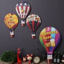 60cm vintage home decor bar cafe decoration wood air balloon