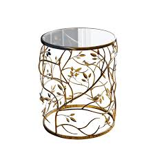 glass cylinder table l abbyson living bently round glass end table in gold md p156090