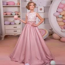 2017 sweet dusty pink lace flower girls dress two pieces junior