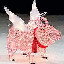 trim a home 28 u201d lighted angel pig outdoor christmas decoration