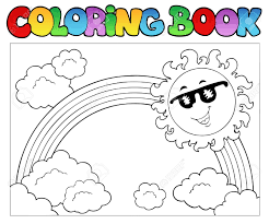 coloring book with sun and rainbow royalty free cliparts vectors