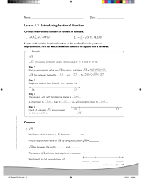 Rational Or Irrational Numbers Worksheet Lesson 1 3 Introducing Irrational Numbers