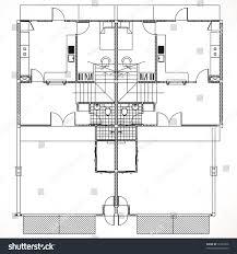 residential forms floor plan townhouse development stock vector