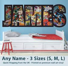 avengers home decor childrens name wall stickers art personalised avengers marvel boys