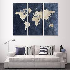 Ikea World Map Canvas by New 3 Pcs Set Abstract Navy Blue World Map Canvas Painting Modern