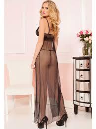 buy nightwear online exquisite black sheer mesh gown e6466