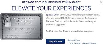 Business Platinum Card Amex Targeted American Express Business Platinum 50 000 Point Upgrade