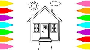 how to draw house for kids coloring pages for children learn