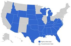 United States Map With State Names And Abbreviations by National Right To Work Foundation Right To Work States