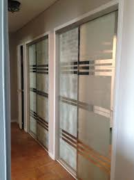 Used Closet Doors Used Blue And Frosted Spray To Create More Modern Design On