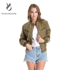light bomber jacket womens women casual biker long sleeve pilot outwear 2017 military light