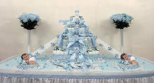 Diaper Cake Centerpieces by 4 Tier Blue Half Sheet Diaper Cakes Pdc