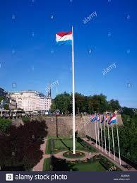 Flag Pole Light Luxembourg Flag On Tall Flag Pole Luxembourg City Luxembourg Stock