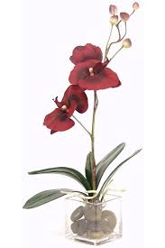 silk decor home accents burgundy orchid floral arrangement topiaries and silk plants