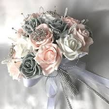 artificial wedding bouquets bridesmaids buttonholes pink white grey roses artificial