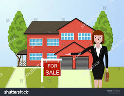 woman realtor shows house sale buy stock vector 544304653