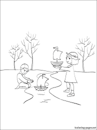 coloring children spring creek coloring pages