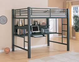 bedroom full size metal loft bed which furnished with computer