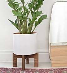 amazon com case study ceramic planter with wood stand small