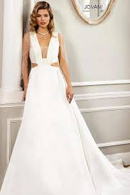 sleeveless wedding dress ivory a line floor length gown with side cutouts and a neckline