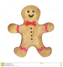 watercolor christmas gingerbread man cookie on a white background