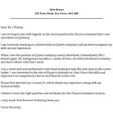 financial sales assistant cover letter