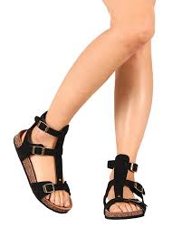 shoes qupid new ai84 women suede buckle strappy gladiator flat sandal