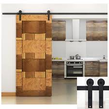 Sliding Door Wood Double Hardware by 5ft Black Country American Style Straight Design Barn Wood Steel