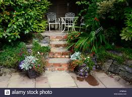 Raised Container Garden Raised Patio Seating Area Red Brick Steps Container Container