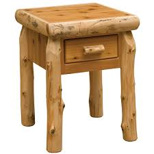 Cedar Log Bedroom Furniture by Cedar Log One Drawer Nightstand