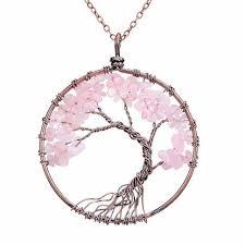 quartz gemstone necklace images Rose quartz tree of life gemstone necklace soul charms jpg