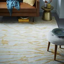 Gold Rugs Contemporary Botanical Twigs Wool Rug Oatmeal Gold West Elm