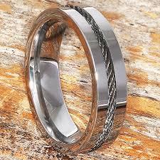 mens metal rings images Corvus mens black steel cable inlay rings forever metals jpg