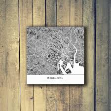 Travel Decor Gallery Wrapped Map Canvas Of Tokyo Japan Map Art U0026 Travel Decor
