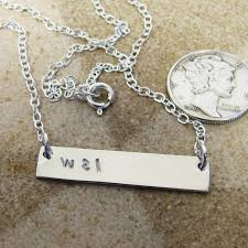 Initials Necklace Silver Bar Cute Necklaces For Women Oblacoder