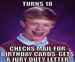 18th Birthday Meme - jury duty funny 18th birthday meme gift party ideas