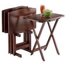 folding oversized wood tray table in espresso darryl 5 piece oversize snack table set antique walnut winsome