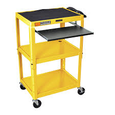 Computer Desk Work Station Yellow Compact Mobile Standing Computer Cart Workstation Desk