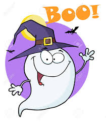 happy halloween ghost flying in night and text boo royalty free