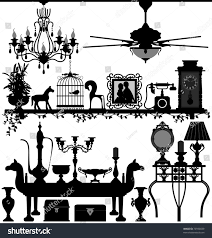 antique home decoration furniture interior design stock vector