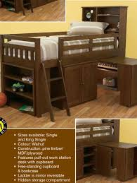 Bunk Cabin Beds Single Cabin Bed In Walnut Stain Pullout Desk New Design