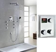 Bathroom Shower Systems Shop Thermostatic Digital Display Bathroom Rainfall Shower Set At