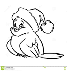 bird santa winter coloring pages cartoon stock illustration